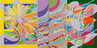 Ai-Wen Wu Kratz - Color Logic II / Yellow and Green Acrylic on Canvas, diptych, Paintings