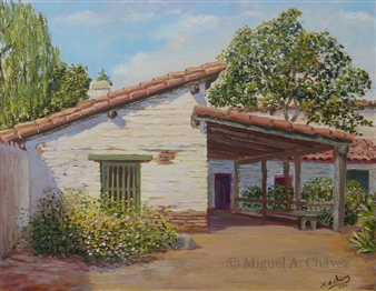 Miguel A. Chavez - Estudillo House Oil on Canvas, Paintings