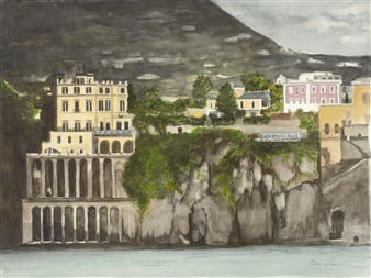 Nancy Holleran - Stormy Sorrento Watercolor on Paper, Paintings