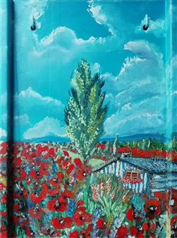 Riccardo Bartoli - One Morning Among the Poppies Oil on Panel, Paintings