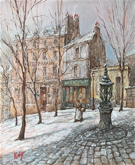 Rody - Winter Morning at Bateau Lavoir Oil on Canvas, Paintings