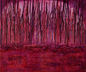Crazy Rah Art aka Sarah Stott - Pink Fluid No. 3 Acrylic & Mixed Media on Canvas, Mixed Media