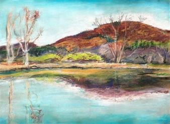 MVR - Berkshires Autumn Pond in Peak Pastel Color Mixed Media Digital Print, Prints