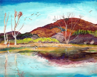 Michael Victor ▪ MVR - Berkshires Autumn Wetland in Peak Pastel Color Mixed Media Digital Print, Mixed Media