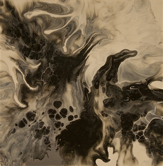 Marilyn MEM Miller - Black and White Rising Acrylic on Canvas, Paintings