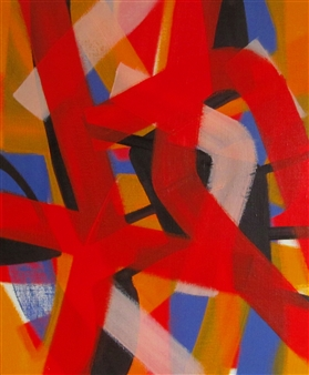 Akihito Izumi - Composition-4 Oil on Canvas, Paintings