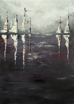 Rita Galambos - Sailboats in the Smoke Acrylic & Mixed Media on Canvas, Mixed Media