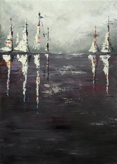 Rita Galambos - Sailboats in the Smoke Acrylic & Mixed Media on Canvas, Mixed Media