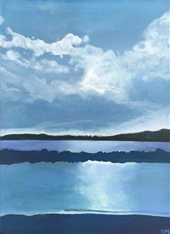 Gabriella Mirabelli - Croton Landing Sunset Acrylic on Canvas, Paintings
