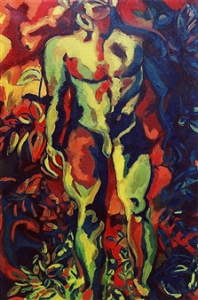 Claudia C Forero - Take Back My Man. Triptych II. Gardens series. Oil on Canvas, Paintings