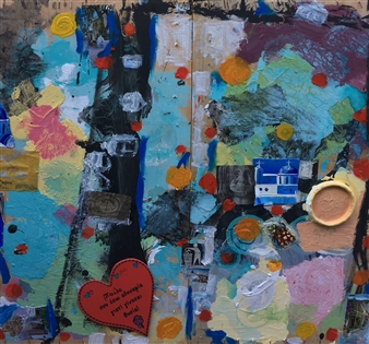 Ana Ingham - Greek Island Oil & collage on Wood, Mixed Media