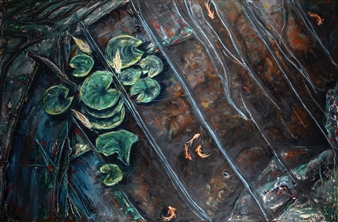 Anne E Chamness - Koi Pond Acrylic on Canvas, Paintings