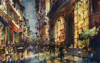 Alejandro Miras - Nocturno Watercolor, Paintings