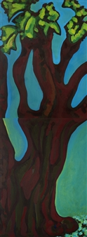 Claudia C Forero - Tree with Leaves in Massachusetts (diptych). Flora and Fauna Acrylic on Canvas, Paintings