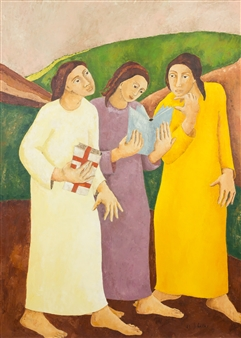 Marliese Scheller - Les Trois Grâces Oil on Masonite, Paintings