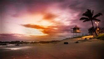 Mireille Pizzo - Rainbow Bay Beach Sunrise Photograph on Metallic Paper, Photography