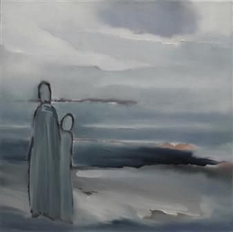 María de Echevarría - Arrivals Oil over Acrylic on Canvas, Paintings