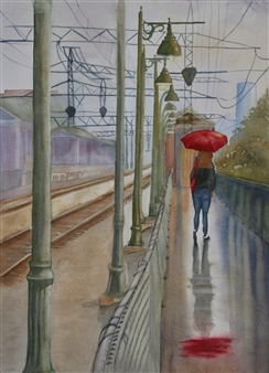 Tammy Phillips - The Station Watercolor on Paper, Paintings