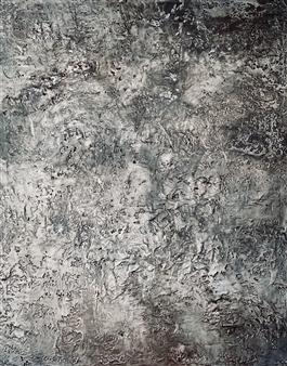 Natalia Gaviria - Moon Surface Gesso, Acrylic & Spray Paint on Canvas, Paintings