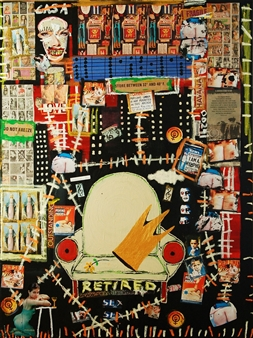 Fernando Magdaleno - Retired Acrylic, Oilstick, Collage on Canvas, Mixed Media
