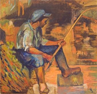 Raul Mariaca Dalence - Jeune Pecheur Oil on Canvas, Paintings
