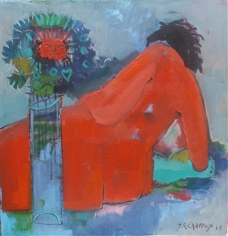 J. Roger Charoux - Nu Au Bouquet Rouge Acrylic on Canvas, Paintings