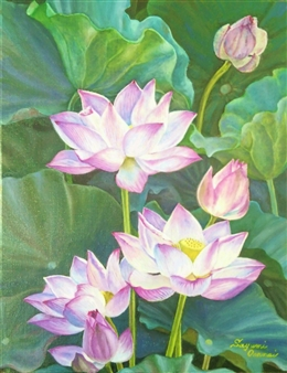Sayumi Osanai - Ancient Lotus 1 Oil on Canvas, Paintings
