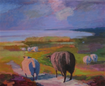 Margit Enggaard Poulsen - Sheep On The East Side, Fanoe Acrylic on Canvas, Paintings