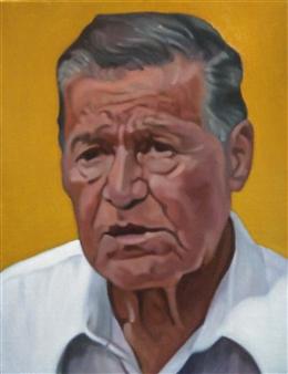 Takumi Kata (TAKU) - An Old Man at Arena Mexico Acrylic on Canvas, Paintings