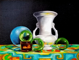 Eric Carter - Table Setting Oil on Canvas, Paintings