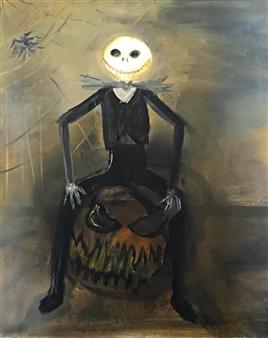 Tsila Mackay - Jack Skellington Oil on Canvas, Paintings