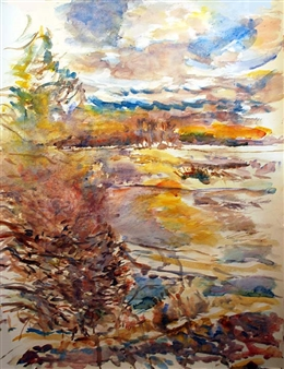 James Chisholm - Newman Rd After Ice Melted, 3-3 Watercolor on Paper, Paintings