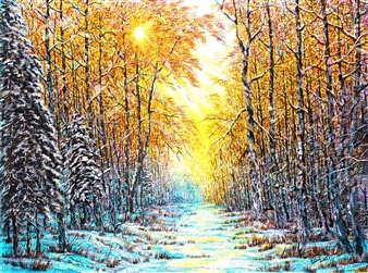 Uriy Bykov - Winter Evening Acrylic on Canvas, Paintings