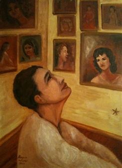 Ragaa Mansour - The Lone Star Oil on Wood, Paintings