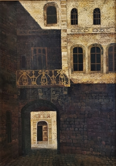 Madina Pavlyuk - Courtyard Illuminated by the Sun Oil on Canvas, Paintings