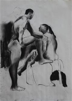 Christine Storey-Lange - Charcoal Drawing Charcoal on Paper, Drawings