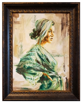 R. Matheson - Emerald Robe Oil on Stretched canvas, Paintings