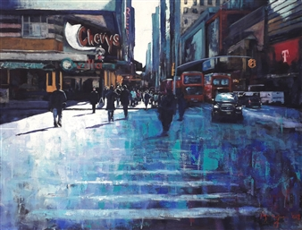 Emanuele Biagioni - Street of New York Acrylic on Canvas, Paintings