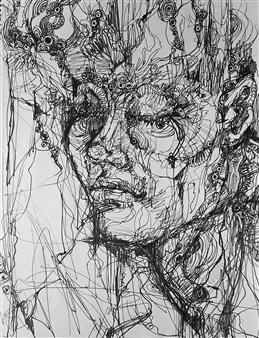 Kaoru Kushima - Face Ⅱ Pen on Paper, Drawings