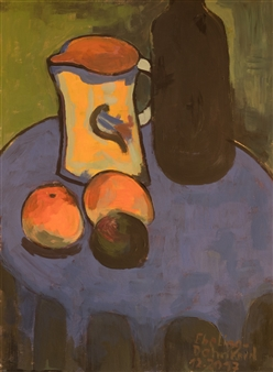 Jutta Ebeling-Dehnhard - Interpretation according Gabriele Münter, Apples on Blue, 1908/09. Acrylic on Carton Board, Paintings