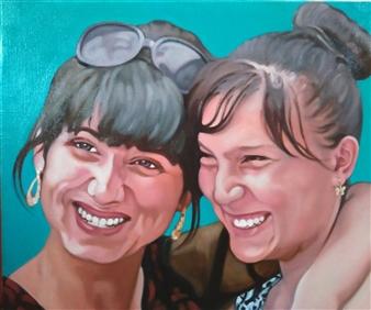 Takumi Kata (TAKU) - Two Girls at Samarkand Oil on Canvas, Paintings