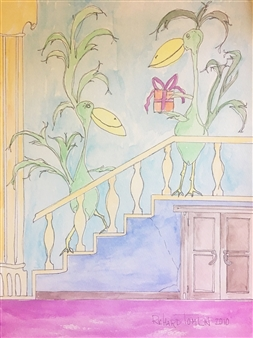 Richard Tomlin - Present for Milton on the Stairs Watercolor on Paper, Paintings