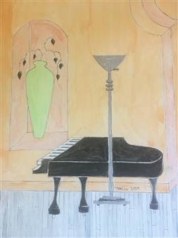 Richard Tomlin - Black Piano & Green Vase at the Theatre Watercolor on Paper, Paintings