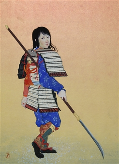 Akinori Ohtsuka - Woman Warrior Mixed Media on Japanese Paper, Mixed Media