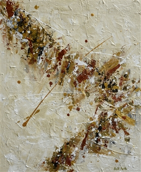 Belle Roth - Copenhagen Day 1 Acrylic & Gold Leaf on Canvas, Mixed Media