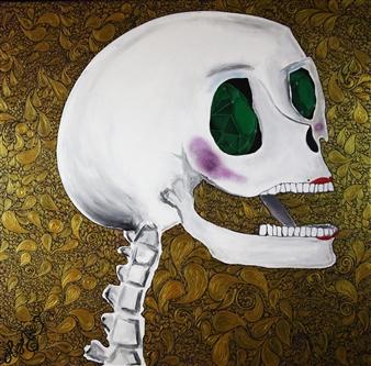 Hugo Ximello-Salido - Catrina Esmeralda Acrylic & Ink on Canvas, Paintings