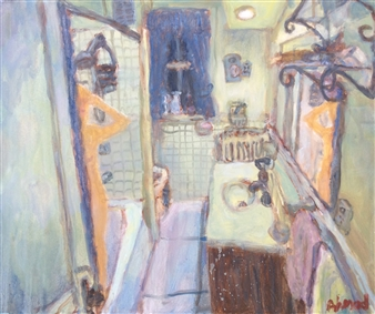 Jenny Ahmad - Light-green Bathroom and Nude in Shower Oil on Canvas, Paintings