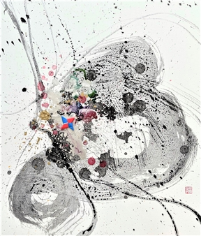 Mieko Nakamura - Heart Flower Sumi 77 Mixed Media on Canvas Board, Mixed Media