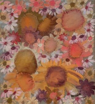 Mar De Redin - Peach Blossoms Mixed Media on Canvas, Mixed Media