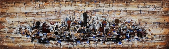 """Eunhyue Shin - with George Gershwin """"Rhapsody in Blue"""" Mixed Media on Panel, Mixed Media"""